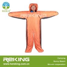 orange human shape sleeping bag