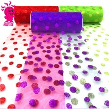 Printed Flowers Organza Tulle Roll Fabric Wedding Gift Bow Craft Flower Packing & DIY