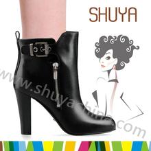 buckle ornament square high heels zipper italian winter leather boots women 2014