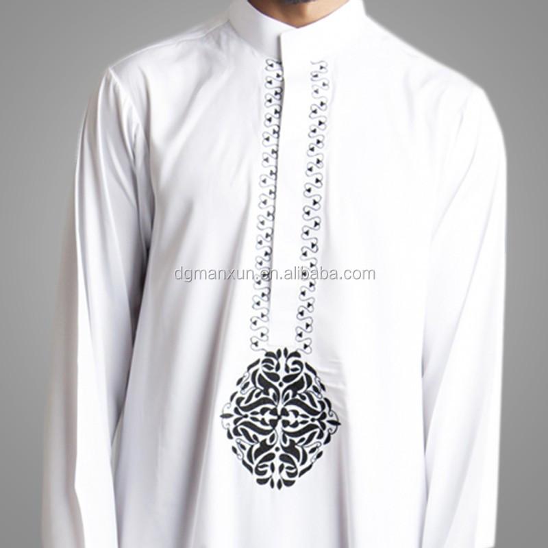 2016 New Style Dubai Thawb Muslim Men Thobe Embroidered Islamic Abaya 2.jpg