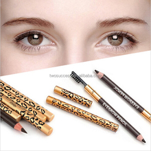 Cosmetic Leopard Eyeliner and Eyebrow Pencil with Brush For Make up