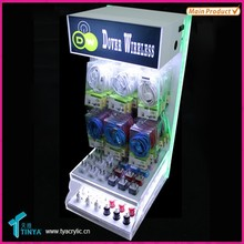 New Products Retail Custom Clear Acrylic Plastic 3 Tier Counter Top Acrylic Cable Charger Display Stand