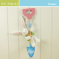 spring holiday home garden decoration spring holiday crafts bunny hanging on the spade