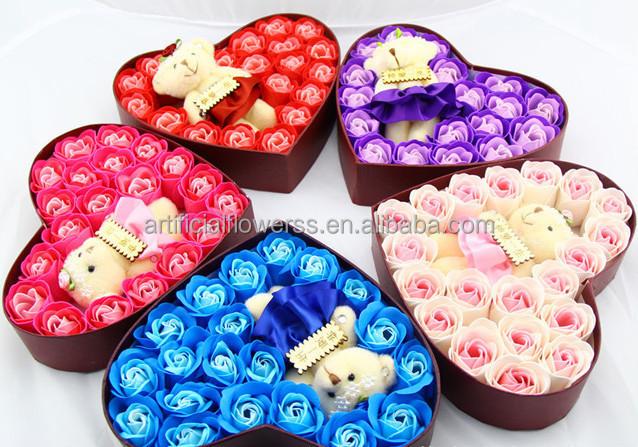 Pas cher en forme de coeur rose fleur de savon cadeau pour saint valentin fleurs guirlande de - Decoration saint valentin pas cher ...