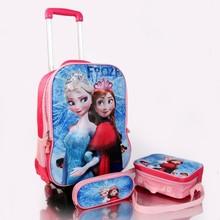 cartoon EVA trolley wheeled school backpack lunch bag pencil case set,kids trolley school bag