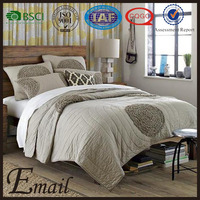 China Fashion Design bedding set round circle appliqued patchwork bedspread quilt