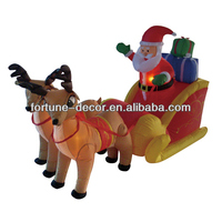 210cm inflatable christmas decoration santa claus on sleigh with reindeers