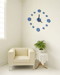 Cheap hot-sale europe high quality decoration flower 12inch 3d design glass wall clock