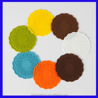High quality kitchen silicone mats decorative design cup coaster