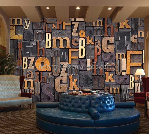Classical decoration 3d letter designer wallpaper for pub for Decoration cost per m2