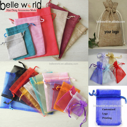 High Quality Fashion Custom Logo Organza Drawstring Burlap Favor Gift Organza Bags