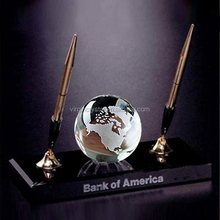 Wholesale K9 Crystal Globe Ball With Double Pen Point And Black Crystal Base For Crystal Office Set