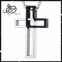 Modern Open Yin Yang Style Black and Polished Finish Stainless Steel Cross Pendant