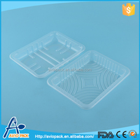 China customized disposable blister PET clear plastic food tray