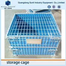 Steel Foldable Rolling Container Wire Mesh Storage Cage