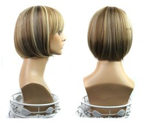 Top Grade wholesale Synthetic Hair short bob wigs for ladies Hot sale cheap classical silky straight wave bobo wigs with bangs