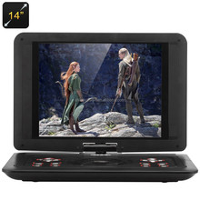 14 Inch Portable DVD Player - TFT LED Display, 1366x768 Resolution, 270 Degree Rotating Function, SD Card Reader, TV, Games
