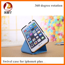 NEW !!! pu leather 360 degree rotation mobile phone case with soft comfortable surface for iphone 6 plus