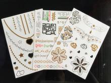 gold silver temporary metallic foil waterproof adhesive body jewelry tattoo sticker /tatoos