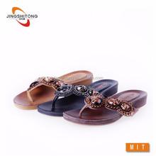 Wholesale lady fashion flip flop leather slipper leather flip flops ladies chappal