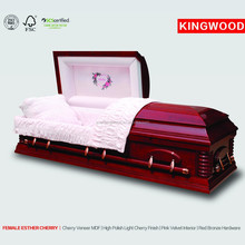 FEMALE ESTHER CHERRY US Style Adult Lumber Casket funeral caskets for sale