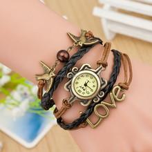 2015 Fashion Style Cheap Alloy Woven Bird Charm Infinity Love leather Bracelet Watch