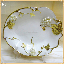 Yiwu factory direct selling colored ceramic fruit plate with jewels for gifts ceramic plate