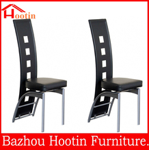 luxury high back metal legs PU leather armless chair dining room furniture