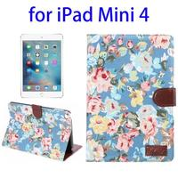 New flower pattern Wake-up Function leather smart tablet case for ipad mini 4 case