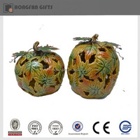 decorative ceramic pumpkin candle holder