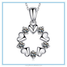 MECY LIFE new design heart shaped pendant necklace with 3A zircon for women