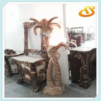 coconut tree style carving uplight antique floor lamp