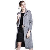 Detail Element Classic Long Mink Cashmere Wool Winter Women Coat