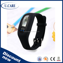 Waterproof promotional colorful step counter, sleep monitor, vibrate SMS call, wristband pedometer, wristband step counter