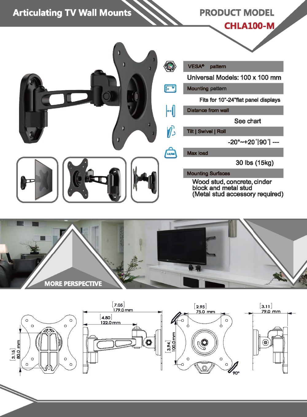 Black Steel Construction Tv Rack Swing New Display Wall Mount Rotating Buy Mountswing Mounttv Wiring Diagram Cables Behind Your While Giving You The Ability To Tilt 25 And Being Able Swivel It 60 Which Allows Watch From
