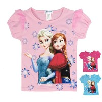 cheap frozen kids girls o-neck short t-shirts for 6-14 years kids girls t-shirts wholesale china cheap t shirts