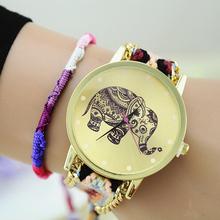 Aliexpress Hot Sale Women Dress Watch Elephant Pattern Cartoon Quartz Watches Fashion Lovely Handicraft Casual Wristwatches