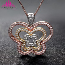 high quality butterfly 2015 new design christmas jewelry micro pave setting 925 sterling silver pendant for love made in china