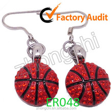 Basketball charms earings, rhinestone sports dangle earings for sports them party in fashion