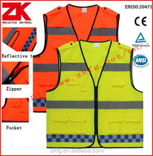 Hot selling safety work yellow high visibility vest with pockets