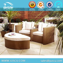 New Design Chaise Lounge Sofa Double Seat Rattan with Ottoman