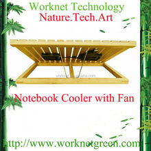 computer accessories factory bamboo notebook cooler pads with fan