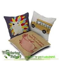 Cute Cotton Linen Square Pillow Case Hedgehog dog pig Sofa Decorative Cushion Cover funny pillow case