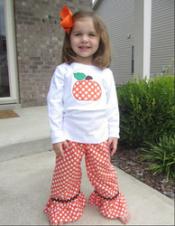Fall halloween Boutique sets baby Girls outfit Wholesale Boutique outfit red baby girl ruffle polka dot remake outfits