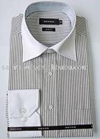 Men long sleeve stripe business shirt