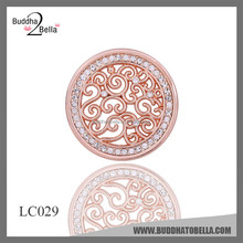 2015 new design necklace locket coin pendant rhodium old rose gold plating with crystal
