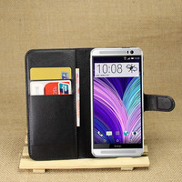 PU Leather flip wallet case cover for htc one m8