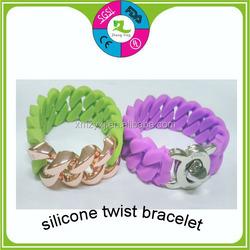 rainbow chain link zinc alloy silicone charm bracelet rubber fashion silicone bracelet