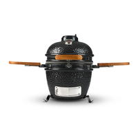 Commercial Ceramic Charcoal BBQ Kamado Grill With Bamboo Side Shelves