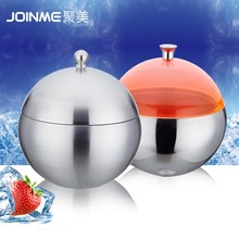 Stainless steel wine cooler/ sphere smooth ice container with lid/a elegant sphere